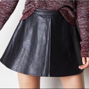 Black Leather Skater Mini Skirt Sz 2 Faux Leather